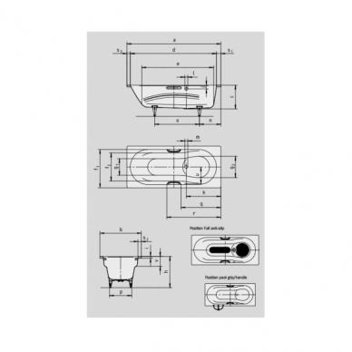 Plieninė vonia Kaldewei Vaio set Star 160, 170, 180 cm su skylėmis rankenėlėms 2