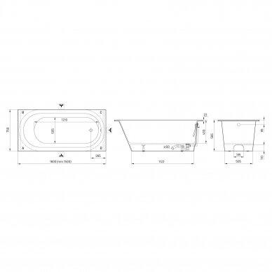 Akmens masė vonia PAA Vario M 150-160x75 cm 9