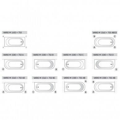 Akmens masė vonia PAA Vario M 150-160x75 cm 6