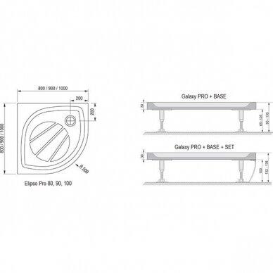 Akmens masės dušo padėklas Ravak Elipso Pro 80, 90, 100 cm 3