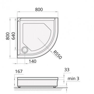 Dušo padėklas PAA Classic Ro R550 80, 90, 100 cm 2