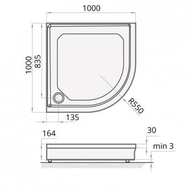 Dušo padėklas PAA Classic Ro R550 80, 90, 100 cm 4