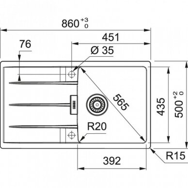 Akmens masės plautuvė Centro CNG 611-86 2