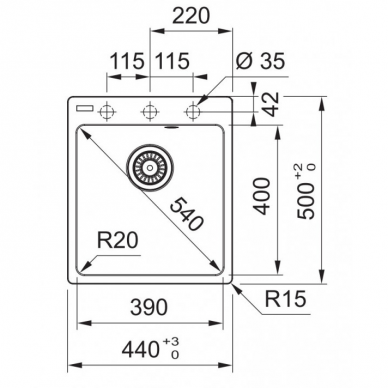 Akmens masės plautuvė Franke Centro CNG 610-39 3