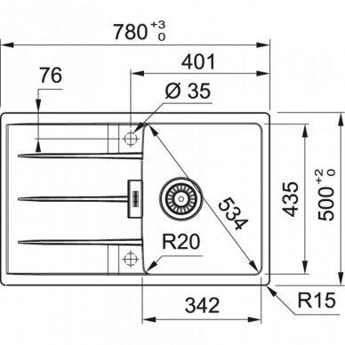 Akmens masės plautuvė Franke Centro CNG 611-62 2