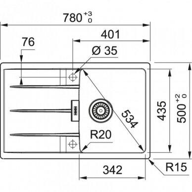 Akmens masės plautuvė Franke Centro CNG 611-78 2