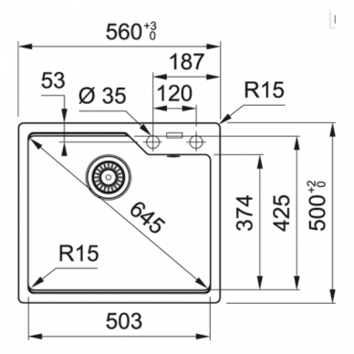 Akmens masės plautuvė Franke UBG 610-56 2