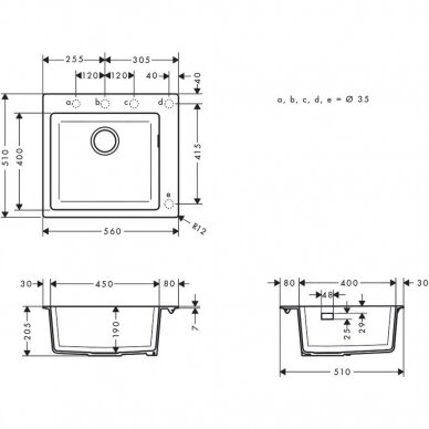 Akmens masės plautuvė Hansgrohe  S51 S510-F450 5