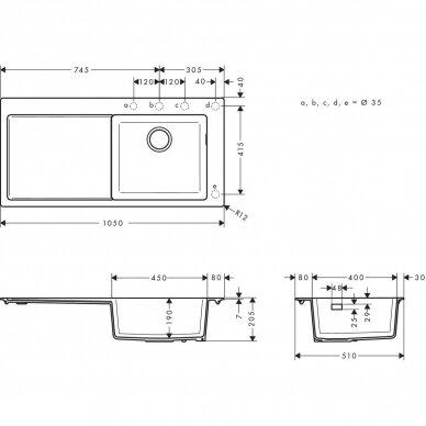 Akmens masės plautuvė Hansgrohe S51 S514-F450 7
