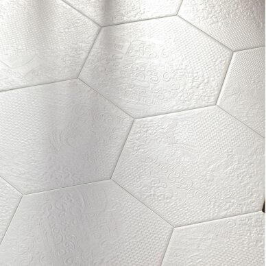 Akmens masės plytelės MILANO WHITE 25x22 cm