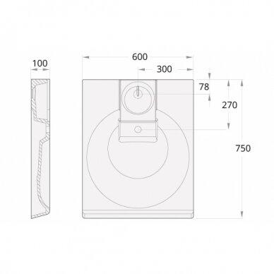 Akmens masės praustuvas PAA Claro Grande 60x75 cm 6