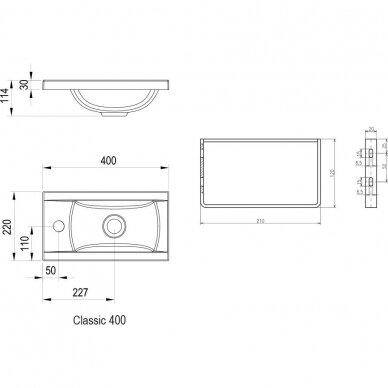 Akmens masės praustuvas Ravak Classic Mini 40 cm 4