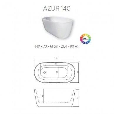 Akmens masės vonia Balteco Azur 130, 140, 155 cm 7