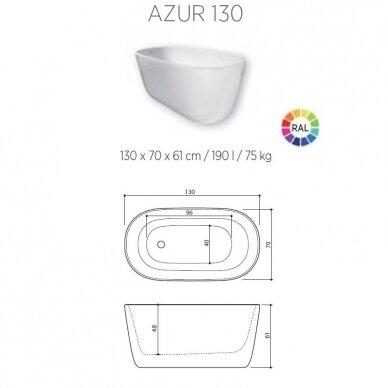 Akmens masės vonia Balteco Azur 130, 140, 155 cm 6