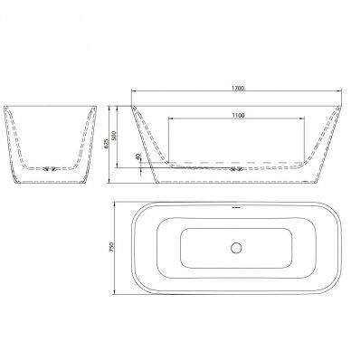 Akmens masės vonia Balteco Como 169 x 75 cm 4