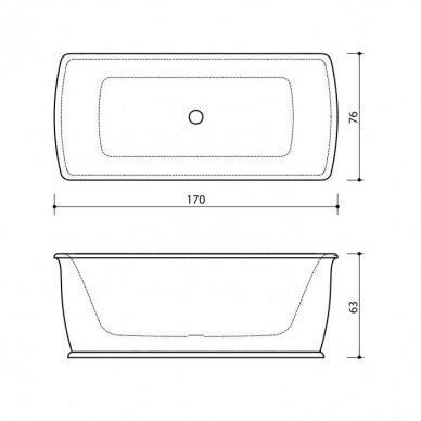 Akmens masės vonia Balteco Epoque 168 x 75 cm 5