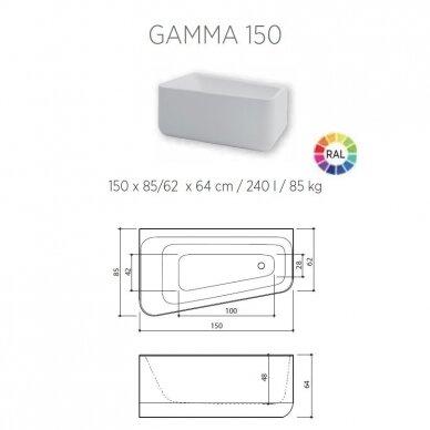 Akmens masės vonia Balteco Gamma 150 cm 5