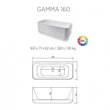 Akmens masės vonia Balteco Gamma 160 cm 4