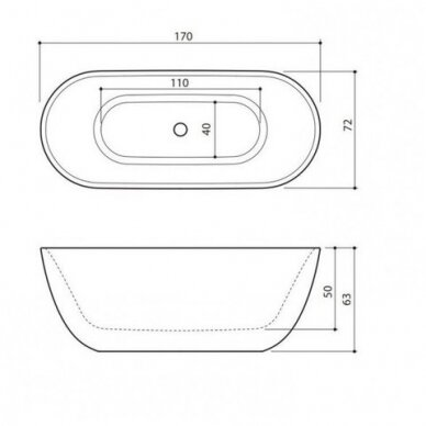 Akmens masės vonia Balteco Halo 169 cm 3