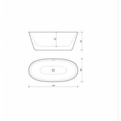Akmens masės vonia Balteco Nido 169 x 79 cm 4