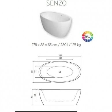 Akmens masės vonia Balteco Senzo 179 cm 5