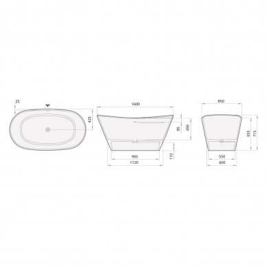 Akmens masės vonia PAA Amore 160 cm 4