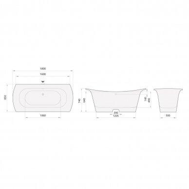 Akmens masės vonia PAA Bel Canto 180 cm 6