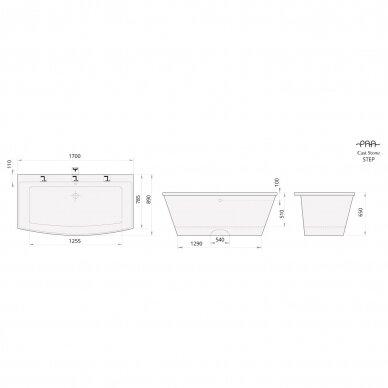 Akmens masės vonia PAA Step 170 cm 4