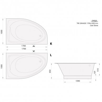 Akmens masės vonia PAA Tre Grande 170 cm 3