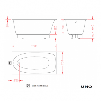 Akmens masės vonia PAA Uno 150 cm 4