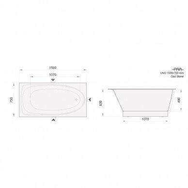 Akmens masės vonia PAA Uno 150x75 cm 4