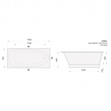 Akmens masės vonia PAA Uno Grande 170 cm 5