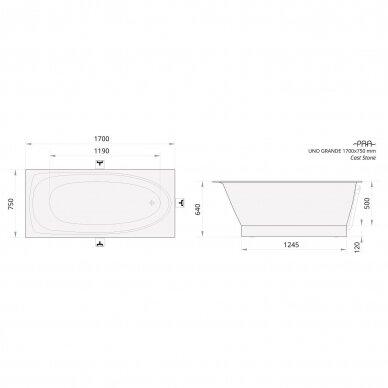 Akmens masės vonia PAA Uno Grande 170 cm 6