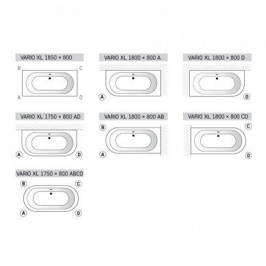 Akmens masės vonia PAA Vario XL 175-185 cm 7