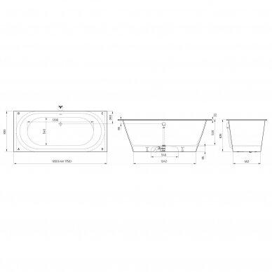 Akmens masės vonia PAA Vario XL 175-185 cm 8