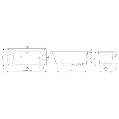 Akmens masės vonia PAA Vario L 160-170x75 cm 11