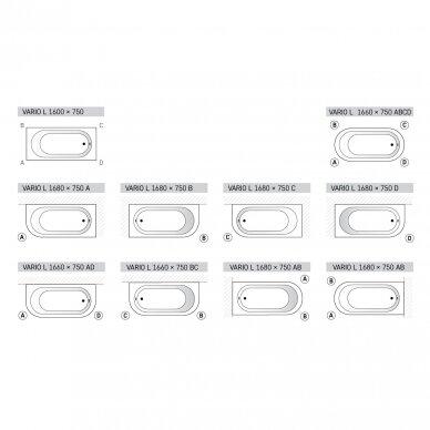 Akmens masės vonia PAA Vario L 160-170x75 cm 8