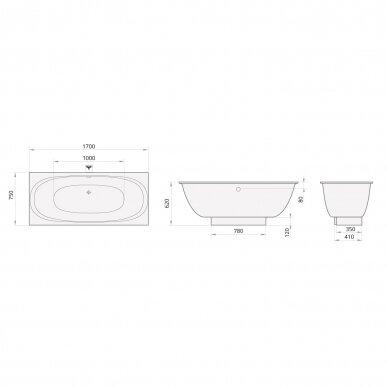 Akmens masės vonia PAA Verso 170 cm 6