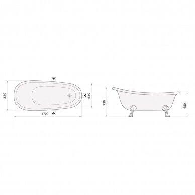 Akmens masės vonia PAA Victoria 170x83 cm 6
