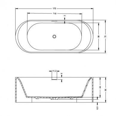 Akmens masės vonia Riho Essence 170 cm 5