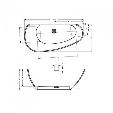 Akmens masės vonia Riho Granada 170 cm 6