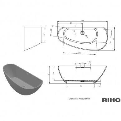 Akmens masės vonia Riho Granada 170 cm 5