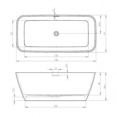 Akmens masės vonia Riho Malaga 160 cm 6