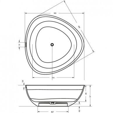 Akmens masės vonia Riho Oviedo 160 cm 6