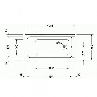Akrilinė vonia Duravit D-Code 150, 160, 170 cm 5