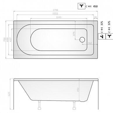 Akrilinė vonia Kyma Goda 170 cm 2