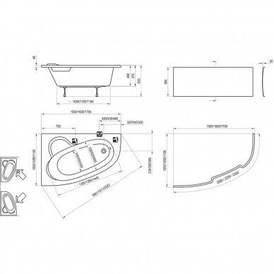 Akrilinė vonia Ravak Asymmetric 150, 160, 170 cm 5