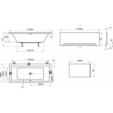 Akrilinė vonia Ravak Formy 01 arba Formy 01 slim 170, 180 cm 8