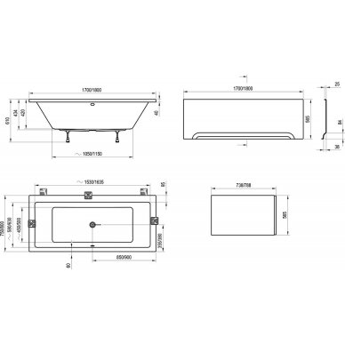 Akrilinė vonia Formy 01 Ravak 170, 180 cm 8