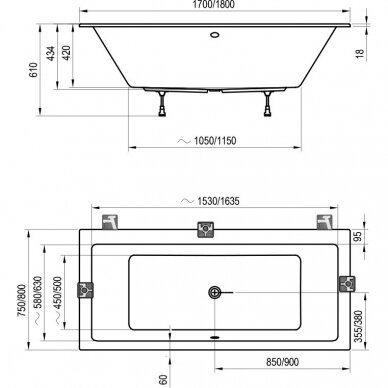 Akrilinė vonia Ravak Formy 01 arba Formy 01 slim 170, 180 cm 9